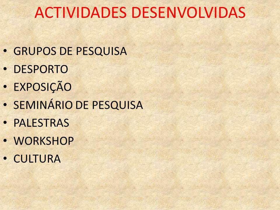 ACTIVIDADES DESENVOLVIDAS GRUPOS DE PESQUISA DESPORTO EXPOSIÇÃO SEMINÁRIO DE PESQUISA PALESTRAS WORKSHOP CULTURA