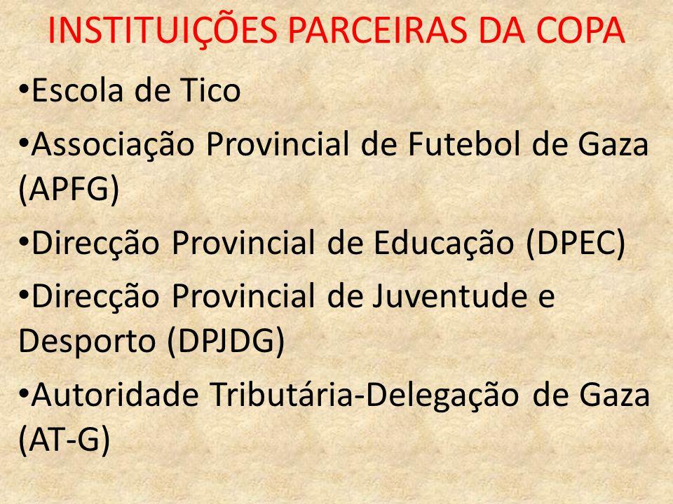 INSTITUIÇÕES PARCEIRAS DA COPA Escola de Tico Associação Provincial de Futebol de Gaza (APFG) Direcção Provincial de Educação (DPEC) Direcção Provinci
