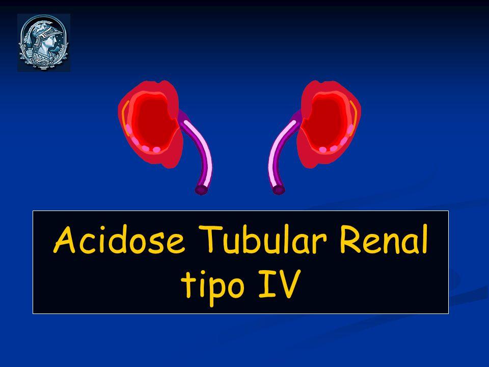 ATR tipo IV: Conceitos Disfunção generalizada do néfron distal caracterizada por hipercalemia associada a acidose metabólica hiperclorêmica, diminuição da excreção de NH 4 + e pH urinário < 5.5.
