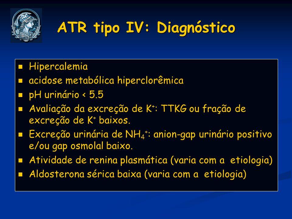 ATR tipo IV: Diagnóstico Hipercalemia Hipercalemia acidose metabólica hiperclorêmica acidose metabólica hiperclorêmica pH urinário < 5.5 pH urinário <