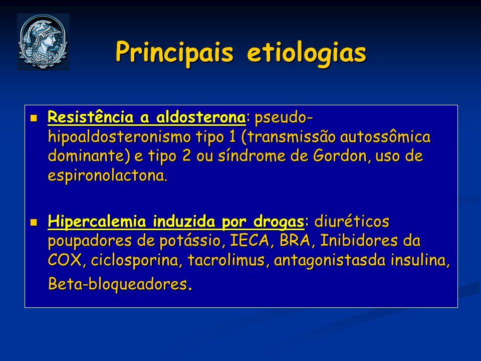 Principais etiologias Resistência a aldosterona: pseudo- hipoaldosteronismo tipo 1 (transmissão autossômica dominante) e tipo 2 ou síndrome de Gordon,