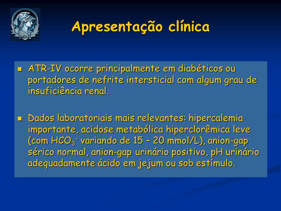 Apresentação clínica ATR-IV ocorre principalmente em diabéticos ou portadores de nefrite intersticial com algum grau de insuficiência renal. ATR-IV oc
