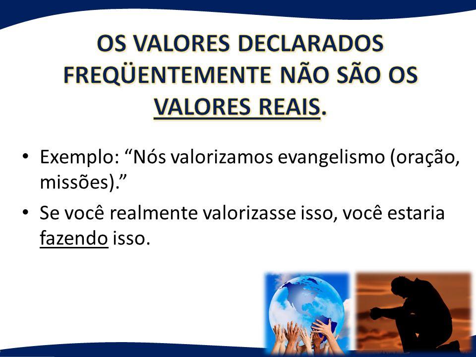 Exemplo: Nós valorizamos evangelismo (oração, missões). Se você realmente valorizasse isso, você estaria fazendo isso.