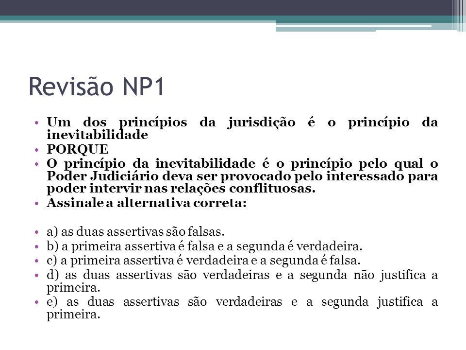 Revisão NP1 Um dos princípios da jurisdição é o princípio da inevitabilidade PORQUE O princípio da inevitabilidade é o princípio pelo qual o Poder Jud