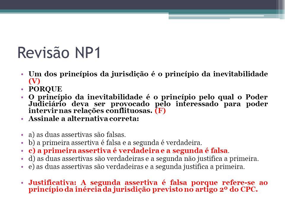 Revisão NP1 Um dos princípios da jurisdição é o princípio da inevitabilidade (V) PORQUE O princípio da inevitabilidade é o princípio pelo qual o Poder