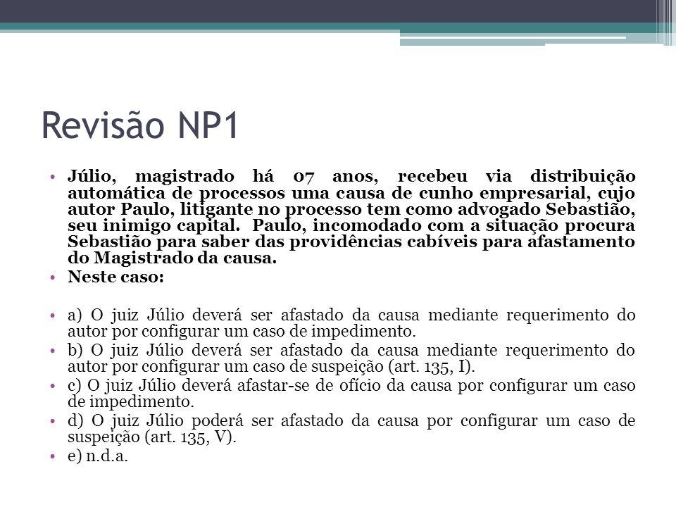 Revisão NP1 Júlio, magistrado há 07 anos, recebeu via distribuição automática de processos uma causa de cunho empresarial, cujo autor Paulo, litigante