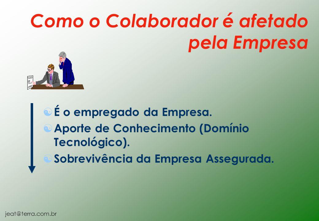 jeat@terra.com.br [ É o empregado da Empresa. [ Aporte de Conhecimento (Domínio Tecnológico). [ Sobrevivência da Empresa Assegurada. Como o Colaborado