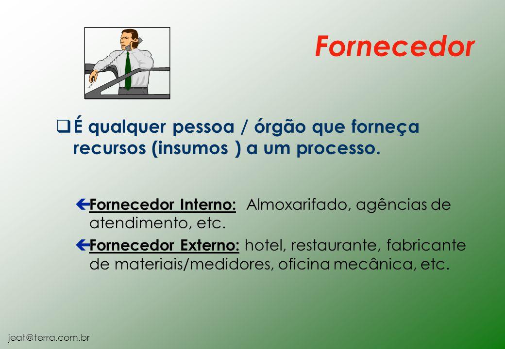 jeat@terra.com.br q É qualquer pessoa / órgão que forneça recursos (insumos ) a um processo. Fornecedor ç Fornecedor Interno: Almoxarifado, agências d