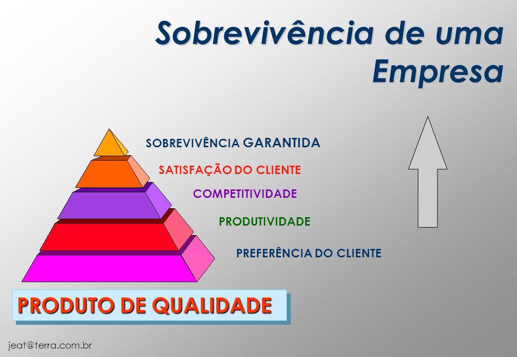 jeat@terra.com.br SOBREVIVÊNCIA GARANTIDA PRODUTO DE QUALIDADE PRODUTIVIDADE COMPETITIVIDADE SATISFAÇÃO DO CLIENTE PREFERÊNCIA DO CLIENTE Sobrevivência de uma Empresa