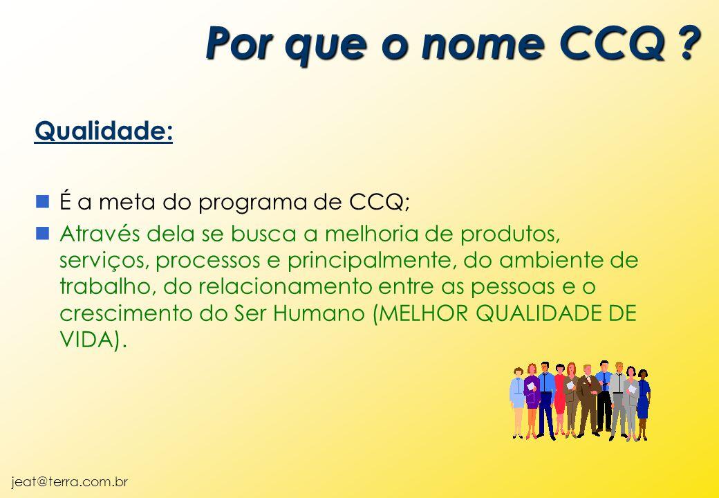 jeat@terra.com.br Qualidade: nÉ a meta do programa de CCQ; nAtravés dela se busca a melhoria de produtos, serviços, processos e principalmente, do ambiente de trabalho, do relacionamento entre as pessoas e o crescimento do Ser Humano (MELHOR QUALIDADE DE VIDA).