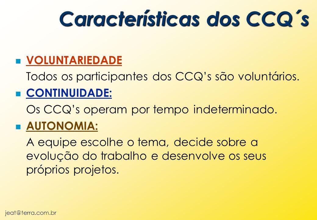 jeat@terra.com.br n VOLUNTARIEDADE Todos os participantes dos CCQ's são voluntários. n CONTINUIDADE: Os CCQ's operam por tempo indeterminado. n AUTONO