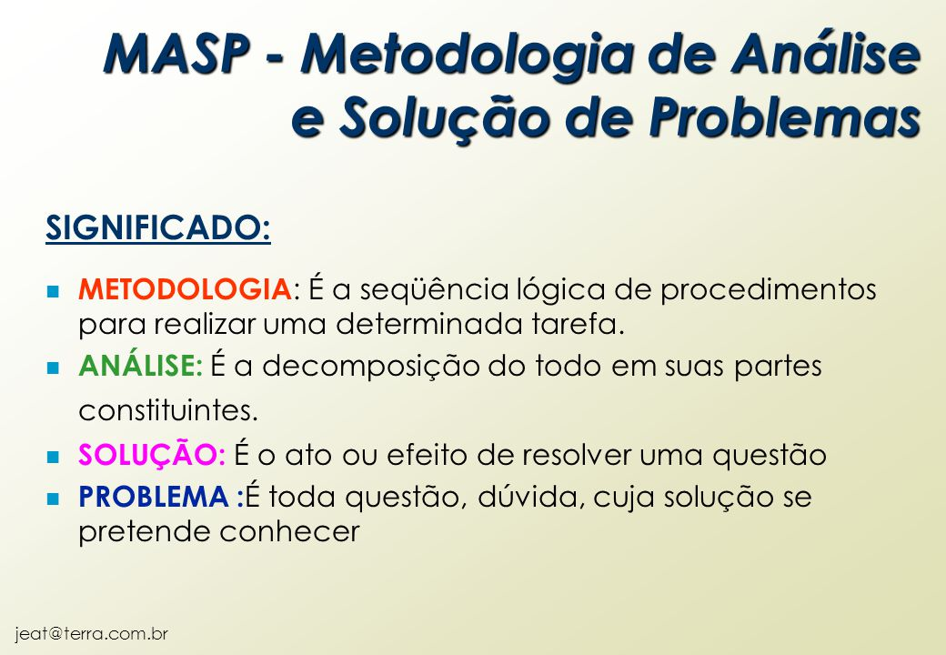 jeat@terra.com.br SIGNIFICADO: n METODOLOGIA : É a seqüência lógica de procedimentos para realizar uma determinada tarefa. n ANÁLISE: É a decomposição