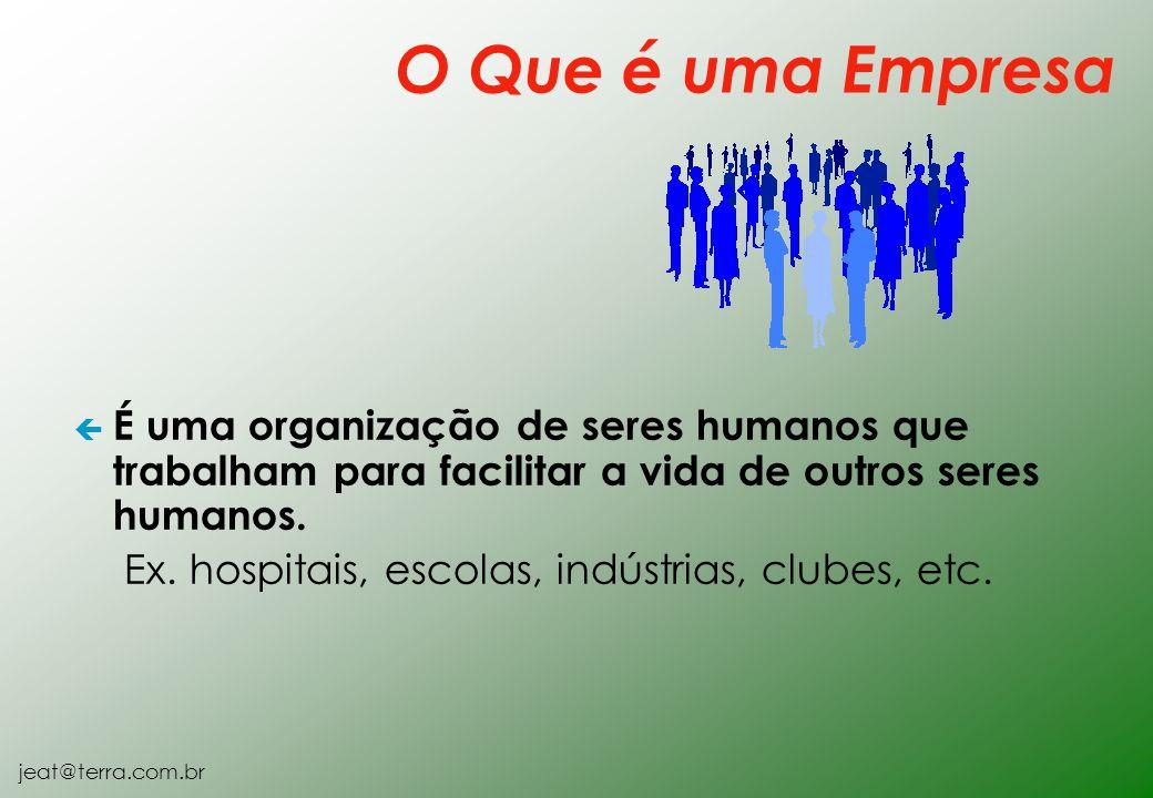 jeat@terra.com.br ç É uma organização de seres humanos que trabalham para facilitar a vida de outros seres humanos. Ex. hospitais, escolas, indústrias