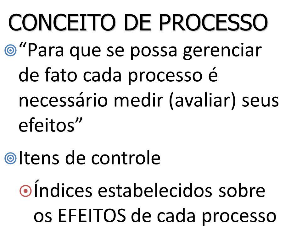  Para que se possa gerenciar de fato cada processo é necessário medir (avaliar) seus efeitos  Itens de controle  Índices estabelecidos sobre os EFEITOS de cada processo CONCEITO DE PROCESSO