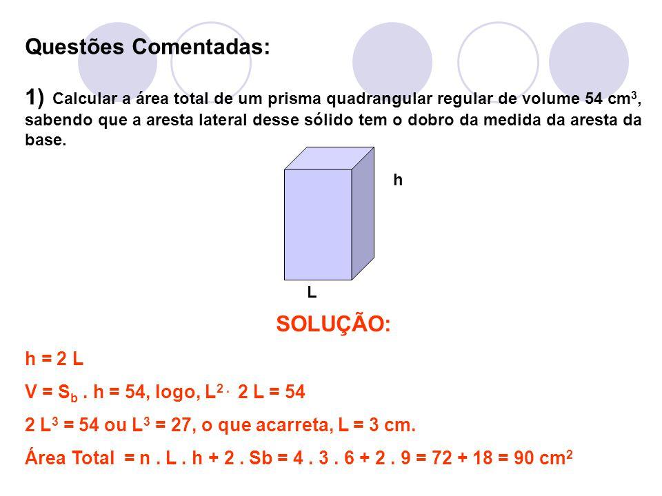 Questões Comentadas: 1) Calcular a área total de um prisma quadrangular regular de volume 54 cm 3, sabendo que a aresta lateral desse sólido tem o dob
