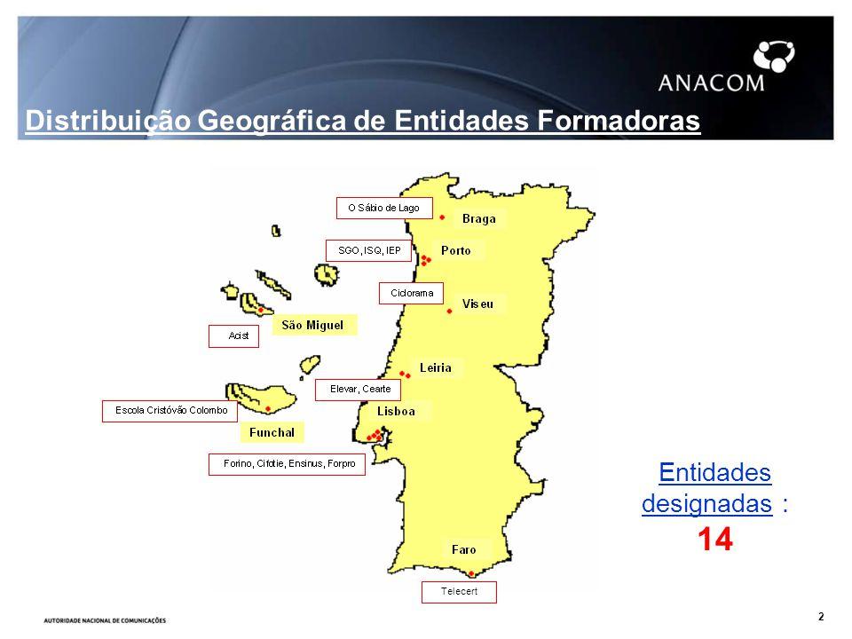 Entidades designadas : 14 Distribuição Geográfica de Entidades Formadoras Telecert 2