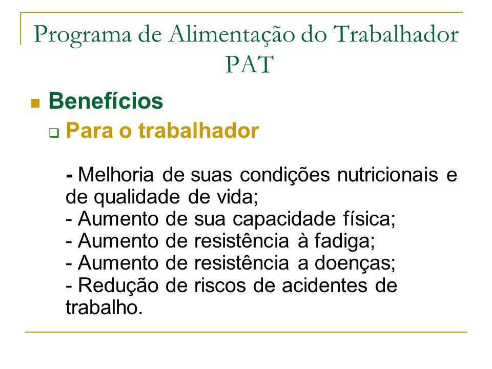 Programa de Alimentação do Trabalhador PAT Benefícios  Para o trabalhador - Melhoria de suas condições nutricionais e de qualidade de vida; - Aumento