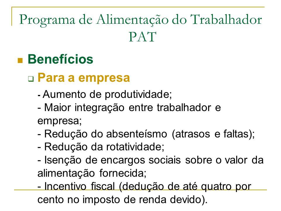 Programa de Alimentação do Trabalhador PAT Benefícios  Para a empresa - Aumento de produtividade; - Maior integração entre trabalhador e empresa; - R