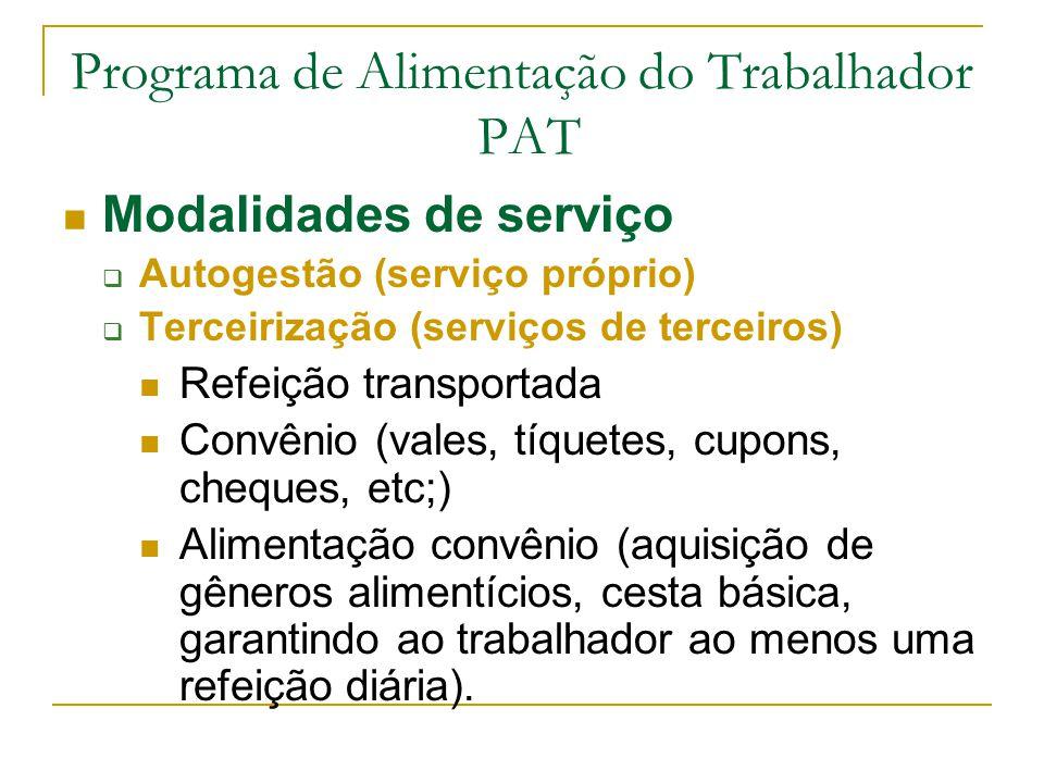 Programa de Alimentação do Trabalhador PAT Modalidades de serviço  Autogestão (serviço próprio)  Terceirização (serviços de terceiros) Refeição tran