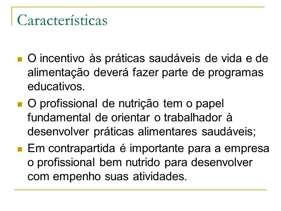 Características O incentivo às práticas saudáveis de vida e de alimentação deverá fazer parte de programas educativos. O profissional de nutrição tem