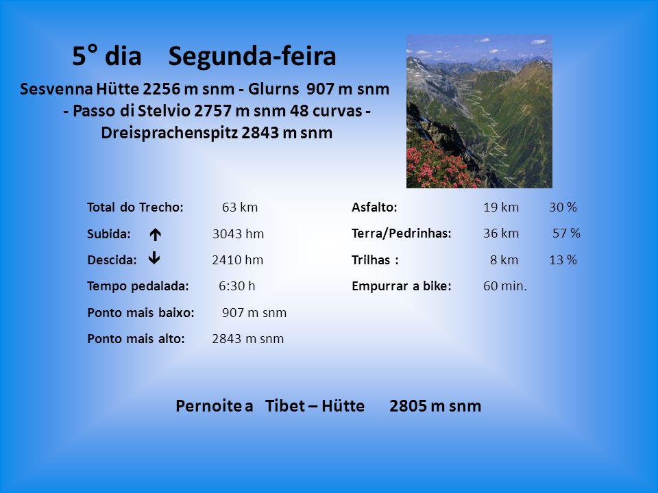Total do Trecho: 63 km Subida:  3043 hm Descida:  2410 hm Tempo pedalada:6:30 h Ponto mais baixo: 907 m snm Ponto mais alto: 2843 m snm Asfalto:19 k