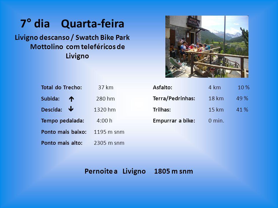 Asfalto: 4 km 10 % Terra/Pedrinhas:18 km49 % Trilhas: 15 km41 % Empurrar a bike:0 min. Pernoite a Livigno 1805 m snm 7° dia Quarta-feira Livigno desca