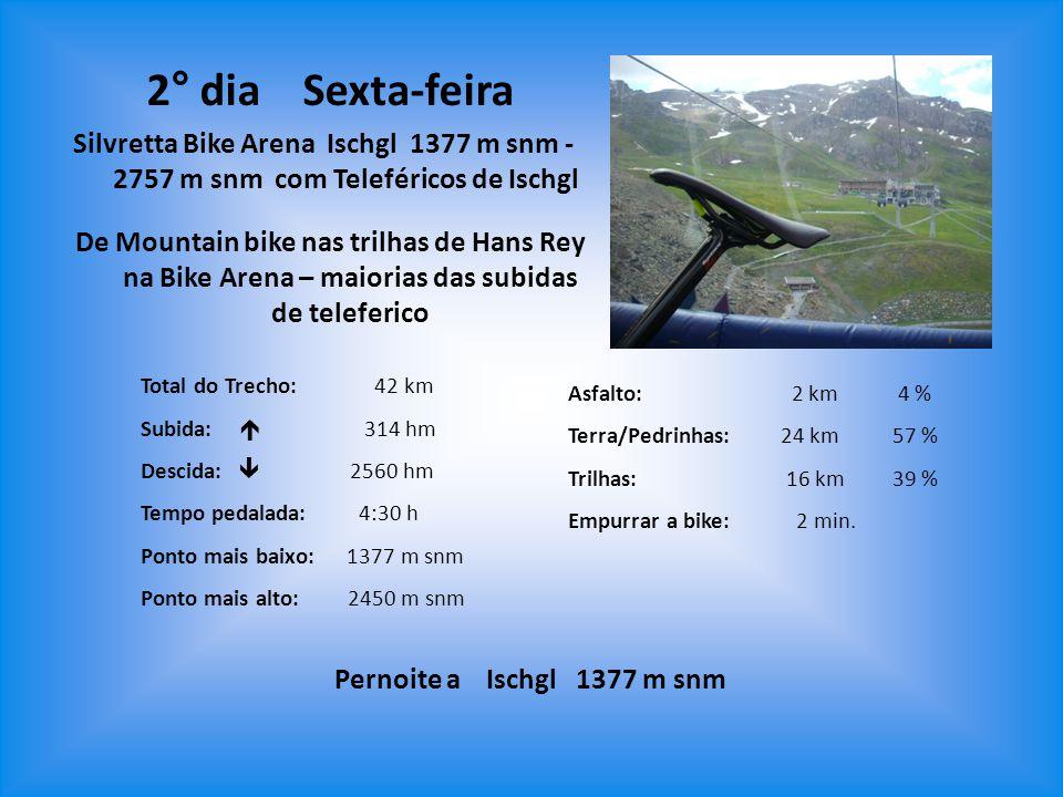Total do Trecho: 42 km Subida:  314 hm Descida:  2560 hm Tempo pedalada: 4:30 h Ponto mais baixo: 1377 m snm Ponto mais alto: 2450 m snm Asfalto: 2