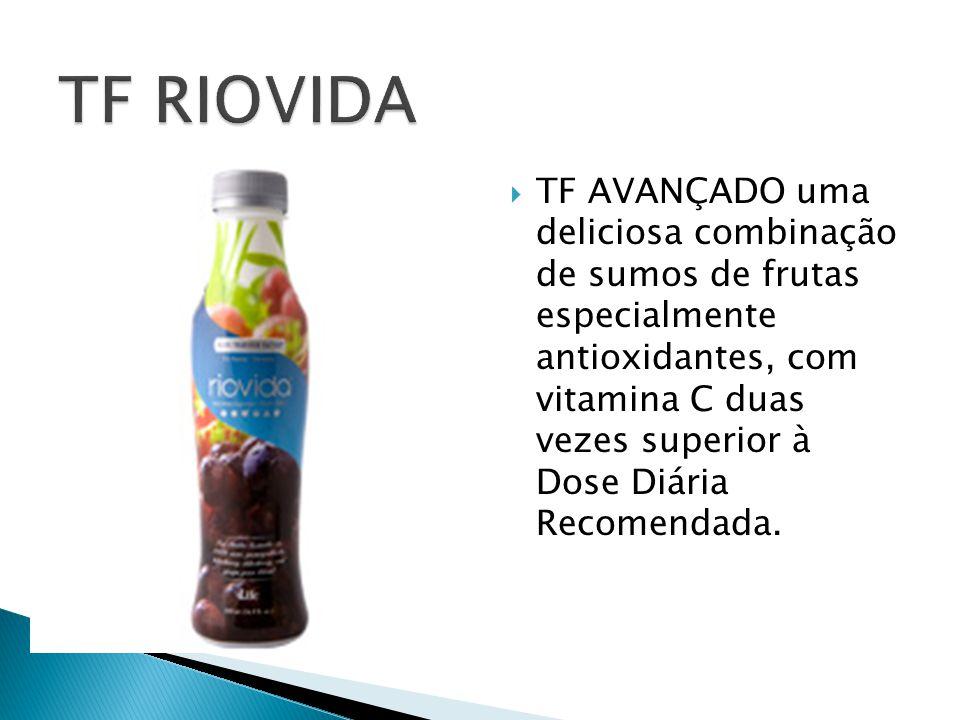  TF AVANÇADO uma deliciosa combinação de sumos de frutas especialmente antioxidantes, com vitamina C duas vezes superior à Dose Diária Recomendada.