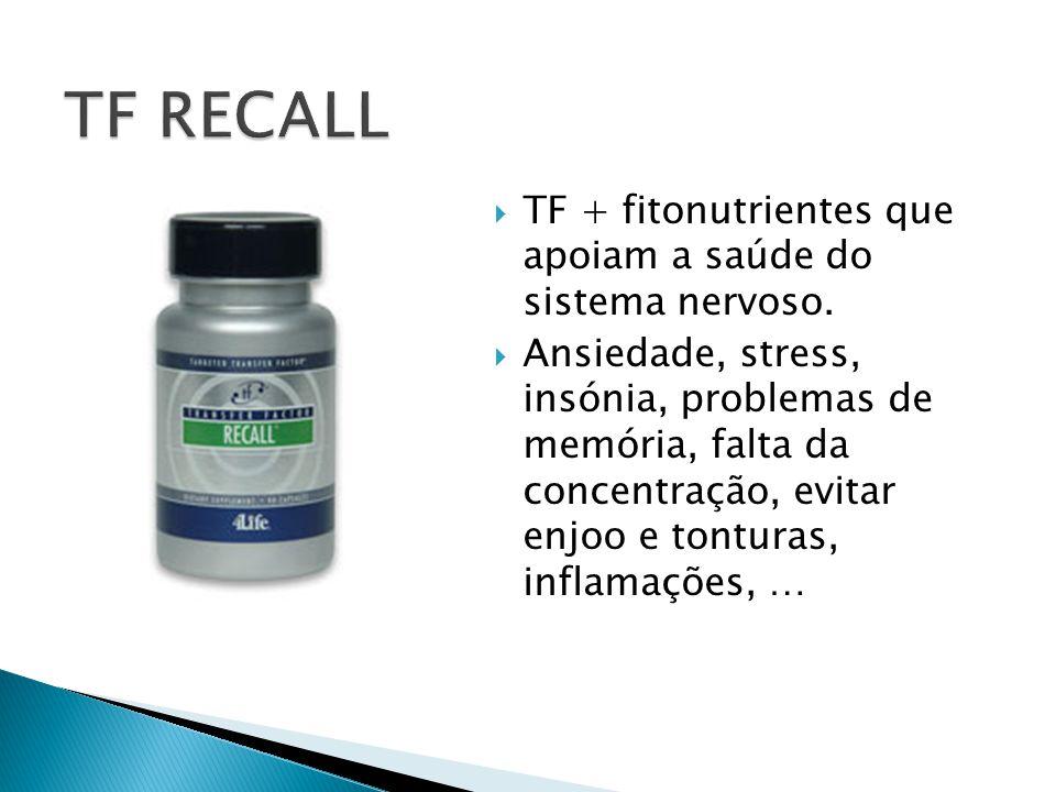  TF + fitonutrientes que apoiam a saúde do sistema nervoso.  Ansiedade, stress, insónia, problemas de memória, falta da concentração, evitar enjoo e