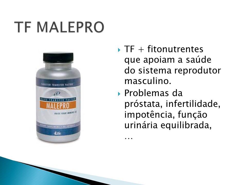  TF + fitonutrentes que apoiam a saúde do sistema reprodutor masculino.  Problemas da próstata, infertilidade, impotência, função urinária equilibra