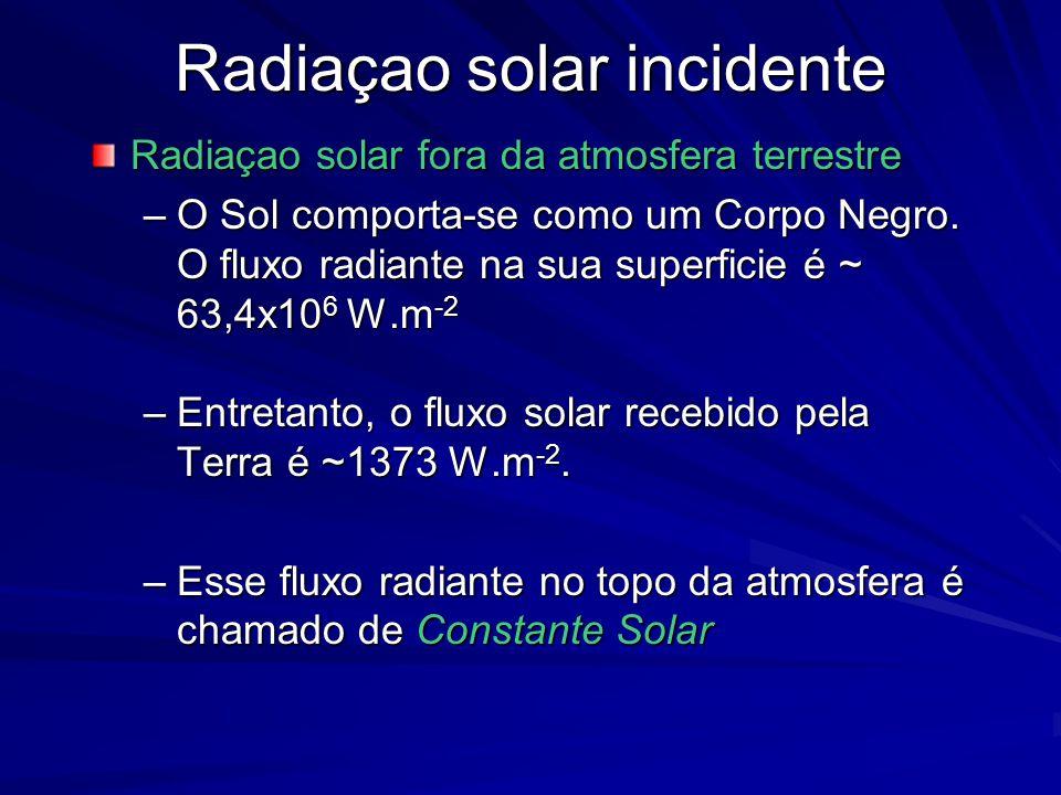Radiaçao solar incidente Radiaçao solar fora da atmosfera terrestre –O Sol comporta-se como um Corpo Negro. O fluxo radiante na sua superficie é ~ 63,