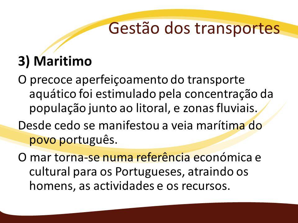 Gestão dos transportes 3) Maritimo O precoce aperfeiçoamento do transporte aquático foi estimulado pela concentração da população junto ao litoral, e