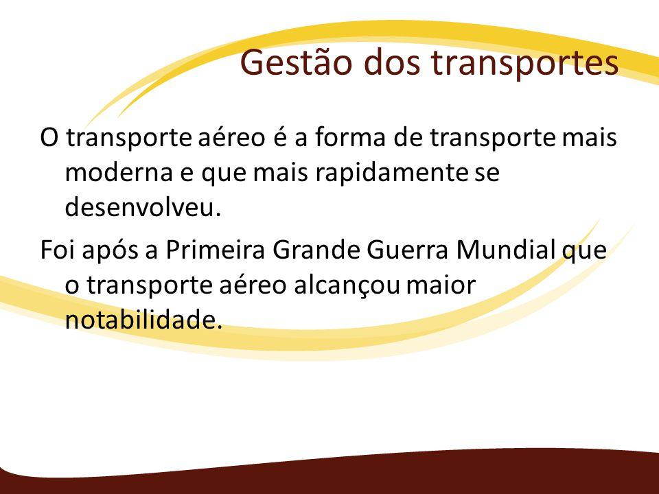 Gestão dos transportes O transporte aéreo é a forma de transporte mais moderna e que mais rapidamente se desenvolveu. Foi após a Primeira Grande Guerr