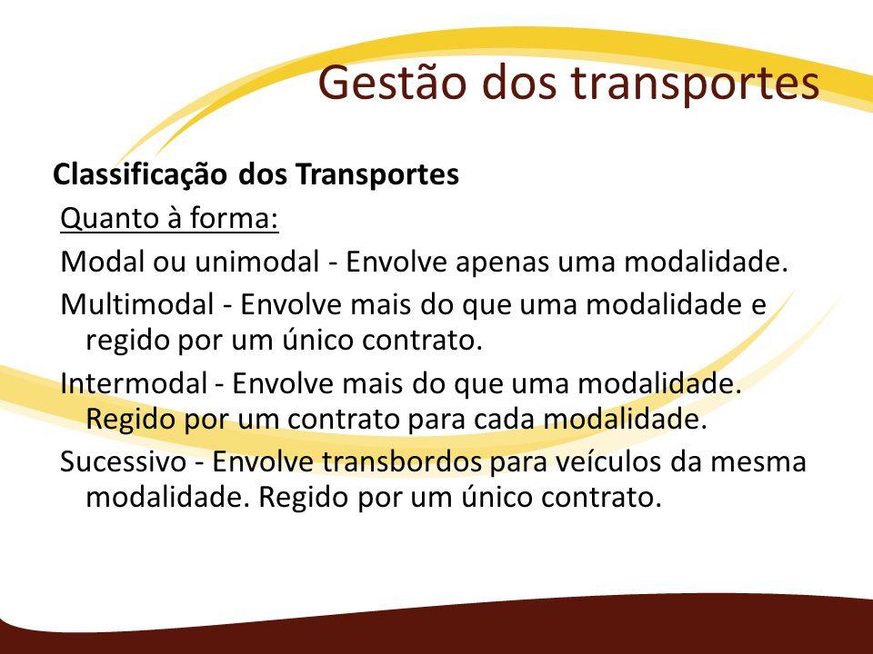 Gestão dos transportes Classificação dos Transportes Quanto à forma: Modal ou unimodal - Envolve apenas uma modalidade. Multimodal - Envolve mais do q