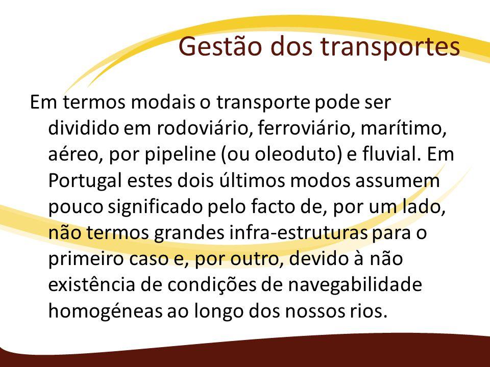 Gestão dos transportes Em termos modais o transporte pode ser dividido em rodoviário, ferroviário, marítimo, aéreo, por pipeline (ou oleoduto) e fluv