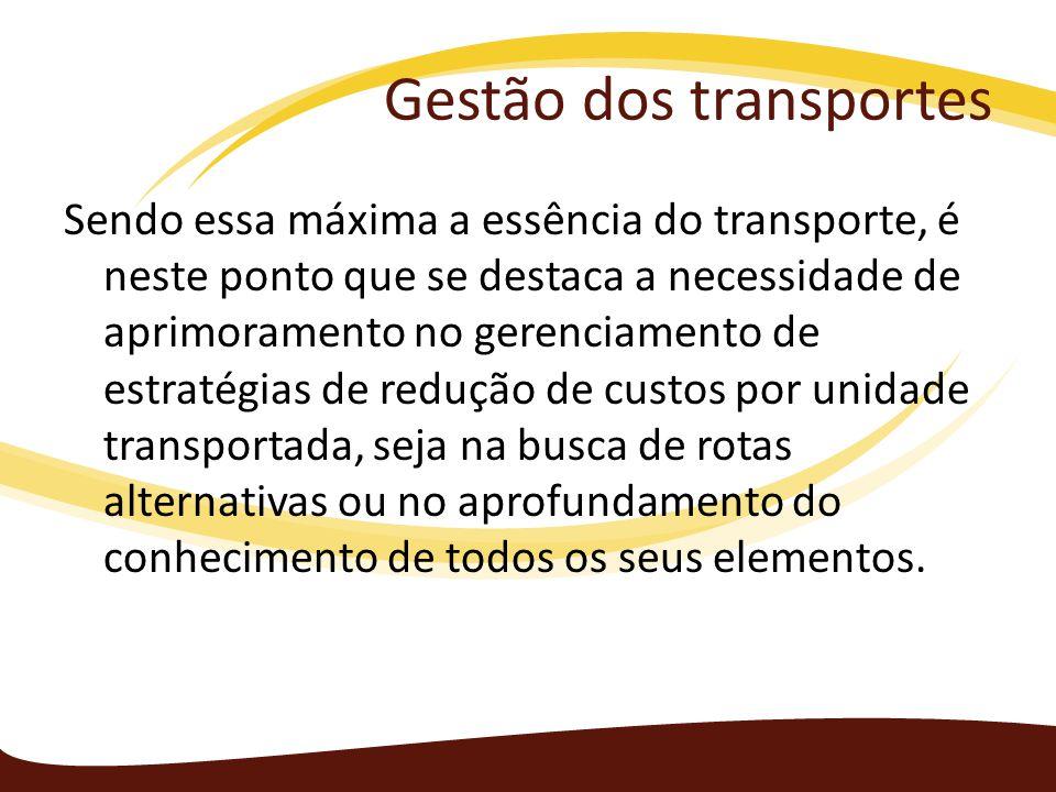 Gestão dos transportes Sendo essa máxima a essência do transporte, é neste ponto que se destaca a necessidade de aprimoramento no gerenciamento de est