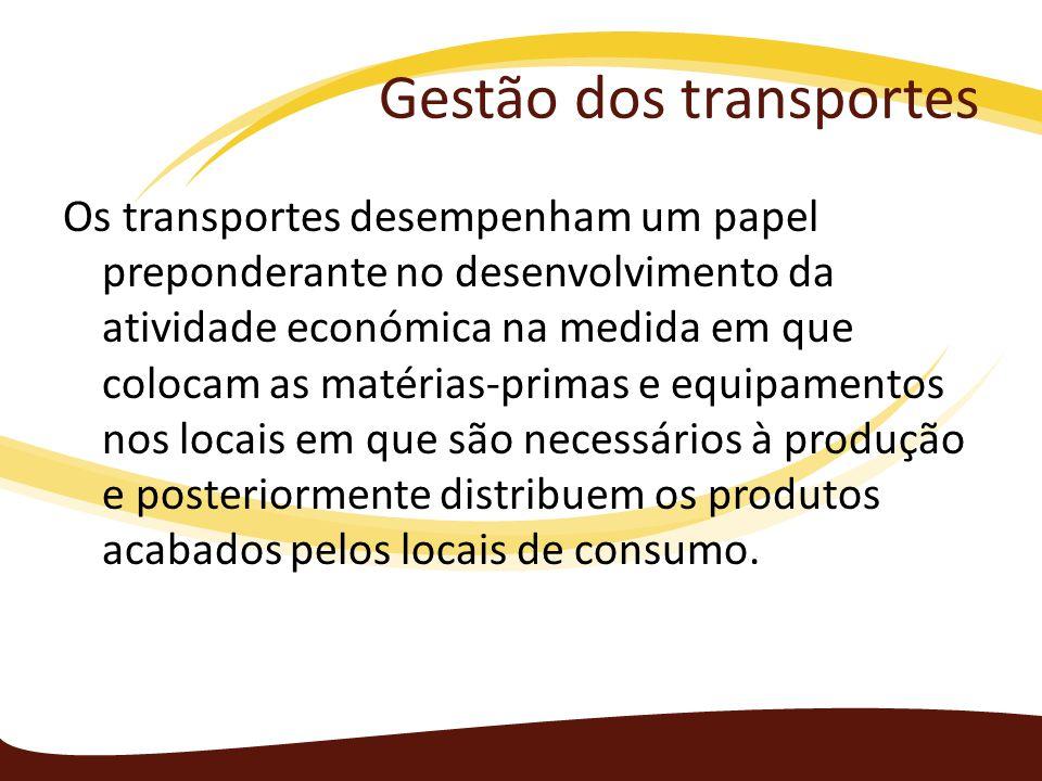 Gestão dos transportes Os transportes desempenham um papel preponderante no desenvolvimento da atividade económica na medida em que colocam as matéria