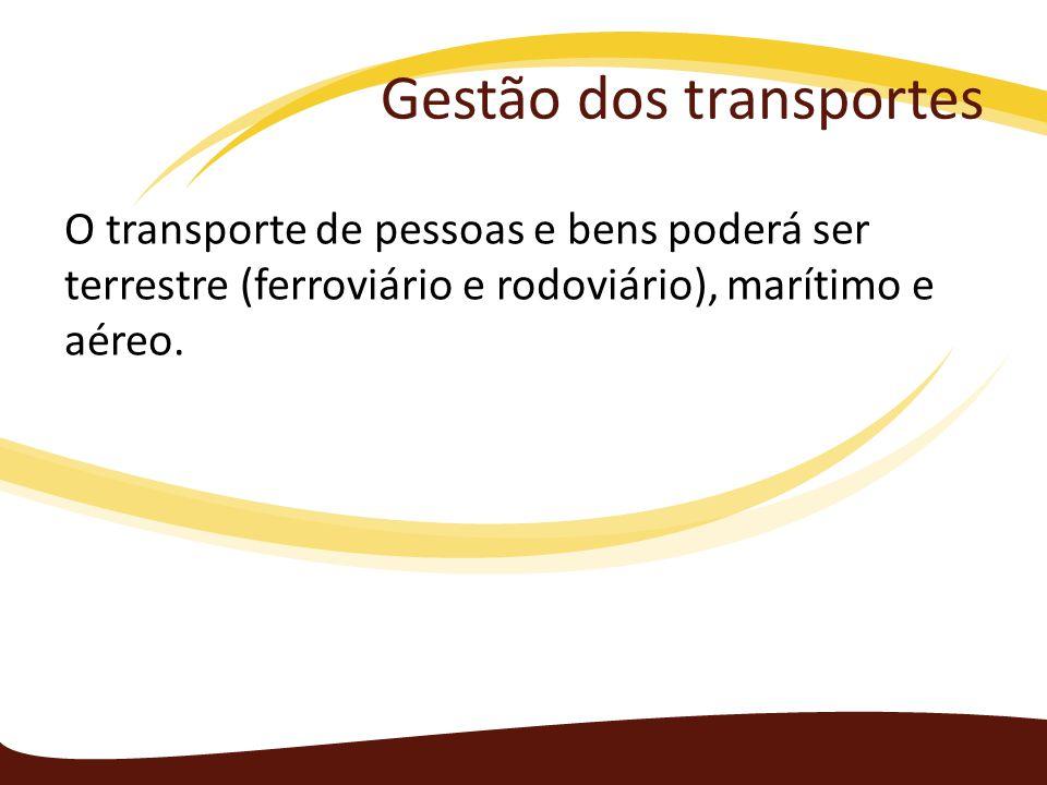 Gestão dos transportes O transporte de pessoas e bens poderá ser terrestre (ferroviário e rodoviário), marítimo e aéreo.