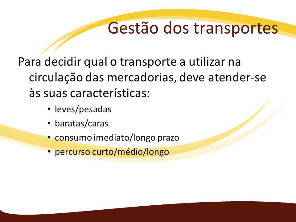 Gestão dos transportes Para decidir qual o transporte a utilizar na circulação das mercadorias, deve atender-se às suas características: leves/pesadas