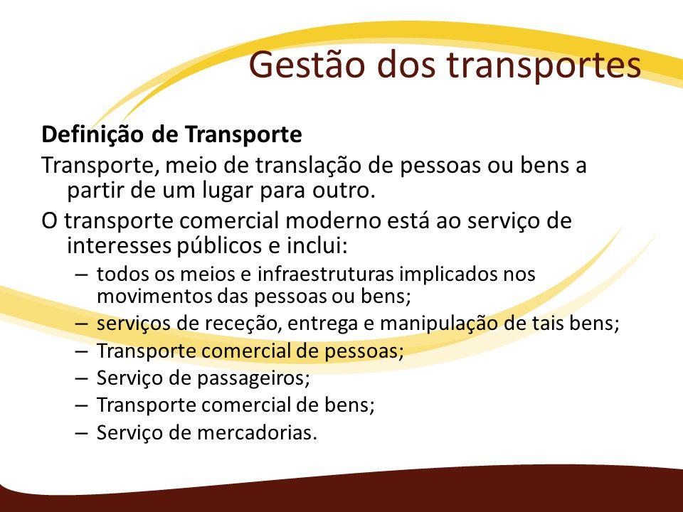 Gestão dos transportes Definição de Transporte Transporte, meio de translação de pessoas ou bens a partir de um lugar para outro. O transporte comerci