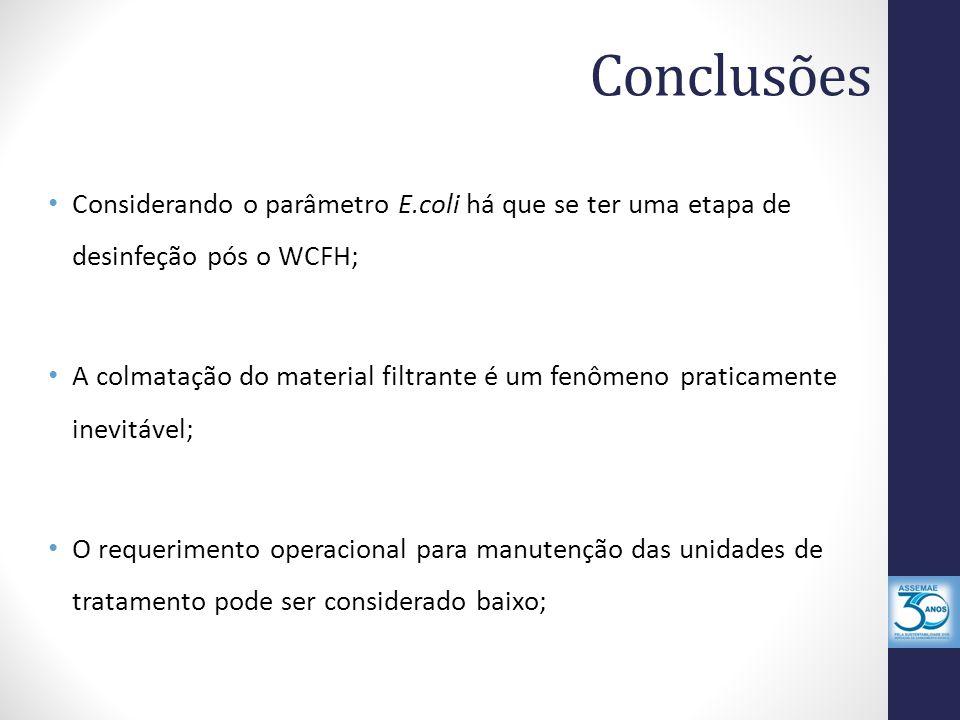 Conclusões Considerando o parâmetro E.coli há que se ter uma etapa de desinfeção pós o WCFH; A colmatação do material filtrante é um fenômeno praticam