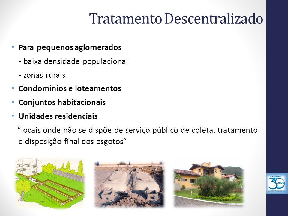 Tratamento Descentralizado Para pequenos aglomerados - baixa densidade populacional - zonas rurais Condomínios e loteamentos Conjuntos habitacionais Unidades residenciais locais onde não se dispõe de serviço público de coleta, tratamento e disposição final dos esgotos