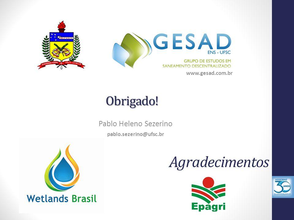 Obrigado! Pablo Heleno Sezerino pablo.sezerino@ufsc.br www.gesad.com.br Agradecimentos
