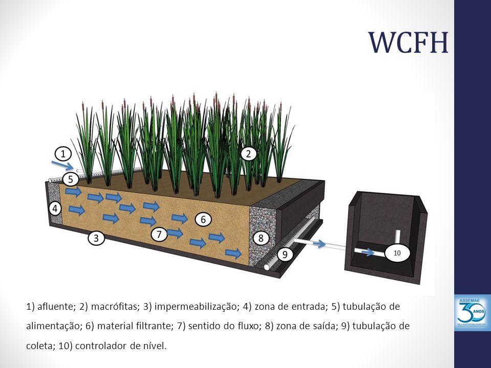 WCFH 1) afluente; 2) macrófitas; 3) impermeabilização; 4) zona de entrada; 5) tubulação de alimentação; 6) material filtrante; 7) sentido do fluxo; 8)