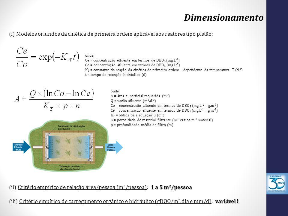 Dimensionamento onde: Ce = concentração efluente em termos de DBO 5 (mg.L -1 ) Co = concentração afluente em termos de DBO 5 (mg.L -1 ) K T = constante de reação da cinética de primeira ordem – dependente da temperatura T (d -1 ) t = tempo de retenção hidráulico (d) (i) Modelos oriundos da cinética de primeira ordem aplicável aos reatores tipo pistão: onde: A = área superficial requerida (m 2 ) Q = vazão afluente (m 3.d -1 ) Co = concentração afluente em termos de DBO 5 (mg.L -1 = g.m -3 ) Ce = concentração efluente em termos de DBO 5 (mg.L -1 = g.m -3 ) K T = obtida pela equação 3 (d -1 ) n = porosidade do material filtrante (m 3 vazios.m -3 material) p = profundidade média do filtro (m) 1 a 5 m 2 /pessoa (ii) Critério empírico de relação área/pessoa (m 2 /pessoa): 1 a 5 m 2 /pessoa variável .