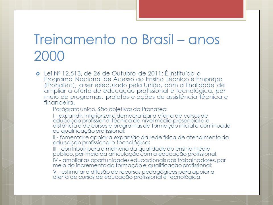 Treinamento no Brasil – anos 2000  Lei Nº 12.513, de 26 de Outubro de 2011: É instituído o Programa Nacional de Acesso ao Ensino Técnico e Emprego (P