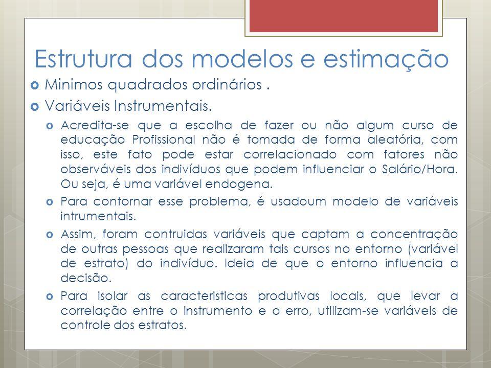 Estrutura dos modelos e estimação  Minimos quadrados ordinários.  Variáveis Instrumentais.  Acredita-se que a escolha de fazer ou não algum curso d