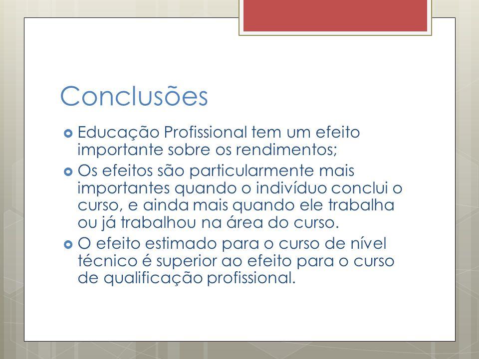 Conclusões  Educação Profissional tem um efeito importante sobre os rendimentos;  Os efeitos são particularmente mais importantes quando o indivíduo