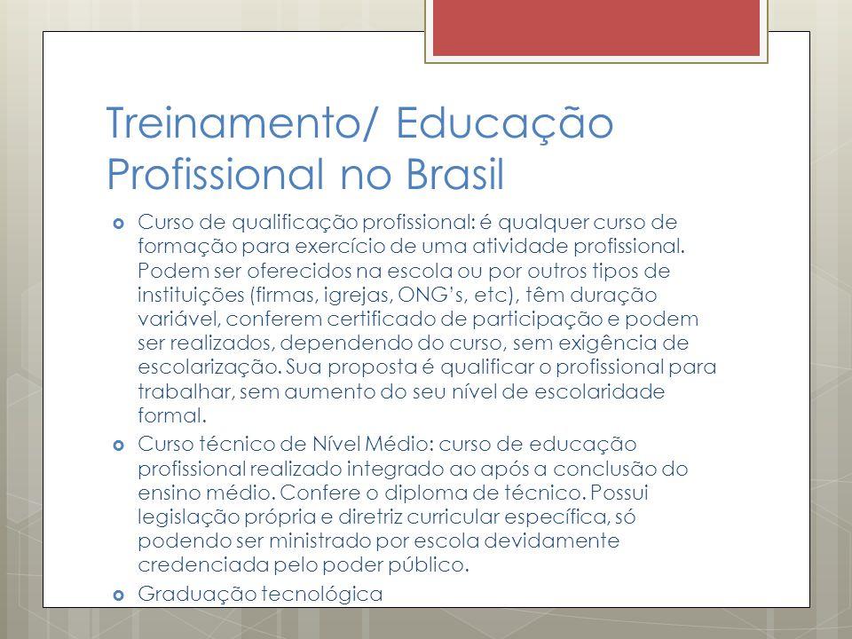 Treinamento/ Educação Profissional no Brasil  Curso de qualificação profissional: é qualquer curso de formação para exercício de uma atividade profis