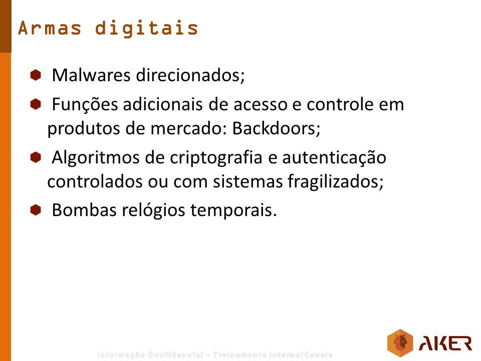 Malwares direcionados; Funções adicionais de acesso e controle em produtos de mercado: Backdoors; Algoritmos de criptografia e autenticação controlado